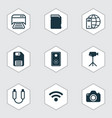 set of 9 computer hardware icons includes audio vector image