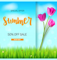 summer sale banner stylish advertisement text vector image