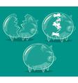 Set of glass piggy banks vector image