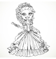 Beautiful princess in a ball dress with a fan in vector image