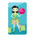 Shopping sale girl showing shopping bag with lable vector image vector image