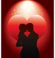 sexy couple silhouette with re vector image vector image