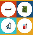 flat icon petrol set of petrol fuel canister vector image
