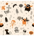 Halloween theme pattern skeletons and monsters vector image