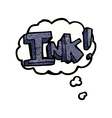 ink cartoon with thought bubble vector image