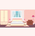Interior bedroom with furniture carpet lamps and vector image