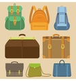 set of flat icons - bags and backpacks vector image