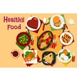 Healthy breakfast dishes icon for festive menu vector image
