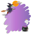 A witch riding on a broom and an empty violet vector image