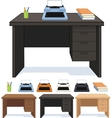 Wood desk with typewriter set of vector image