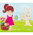 sweet girl and Easter Bunny vector image vector image