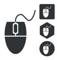 Computer mouse icon set monochrome vector image