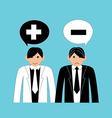 business people positive and negative thinking vector image