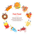 cartoon color fast food characters banner card vector image
