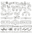 Christmas decoration labelsribbonslettering vector image