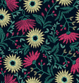 Embroidery floral seamless pattern on navy vector image