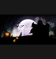 halloween pumpkins and dark house vector image