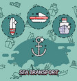 sea transport flat concept icons vector image