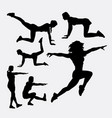 woman training sport silhouette vector image