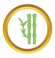 Green bamboo stems icon vector image