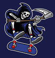 grim reaper riding skateboard vector image vector image