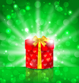 Christmas round gift box on light background vector image vector image