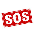 sos red square grunge stamp on white vector image