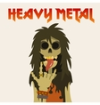 heavy metal skeleton with symbol sign of the horns vector image