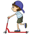 A boy on a scooter vector image vector image