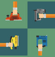 Power tools set modern flat design style vector image