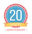 20 years anniversary emblem vector image