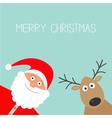 Cartoon Santa Claus and deer Merry Christmas card vector image