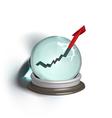 broken magic crystal ball and finance arrow vector image vector image