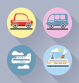 Auto icon set flat style Car bus plane and ship vector image