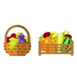 Fruits and vegetables in wicker basket vector image