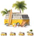 realistic vintage hippie van icon set vector image