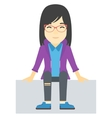 Smiling woman sitting vector image