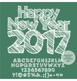 White drawn Happy New Year 2017 greeting card vector image