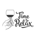 wine bottle and hand holding a glass vector image vector image
