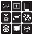Wireless technology web icons set vector image