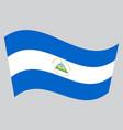 flag of nicaragua waving on gray background vector image
