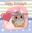 cute cartoon owl girl with balloon vector image