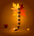 Glossy retro autumn lighted up abc vector image vector image