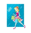 Shopping sale girl woman goes and showing shopping vector image