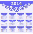 Calendar of 2014 with spiral design vector image