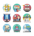 Hotel and travel flat color icons vector image