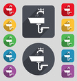 Washbasin icon sign A set of 12 colored buttons vector image