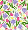 Floral seamless pattern texture with with bright vector image