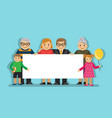 big family with a poster vector image