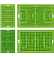 Different green football fields set vector image